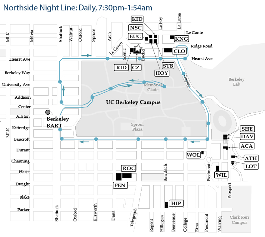 An image depicting UC Berkeley Transit Line N routes.