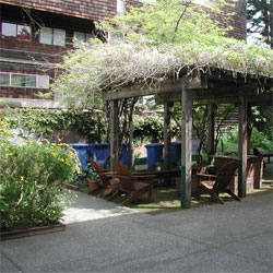 An image of a gazebo in Fenwick's commons.